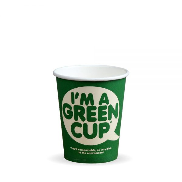 """8oz Single Wall Compostable """"I'm A Green Cup"""" Bio Cup"""