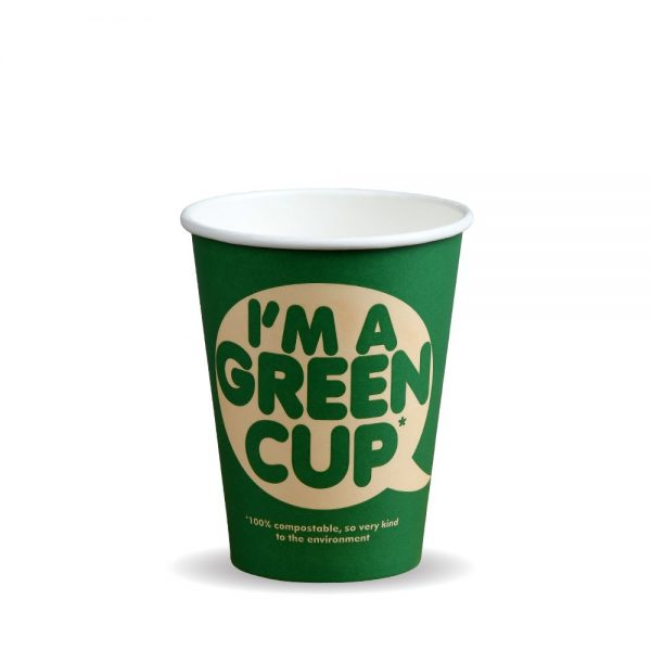 """12oz Single Wall Compostable """"I'm A Green Cup"""" Bio Cup"""