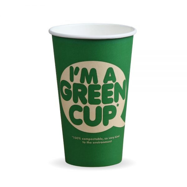 "16oz Single Wall Compostable ""I'm A Green Cup"" Bio Cup"