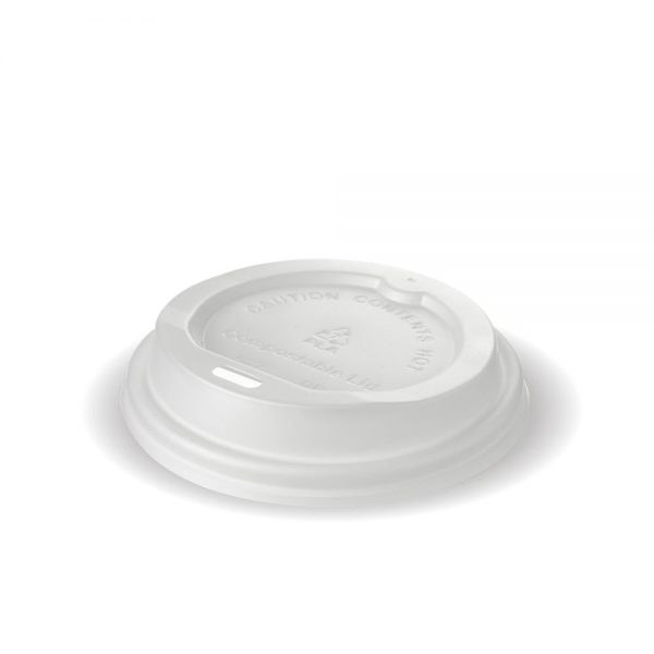 8oz White Compostable PLA Cup Lid