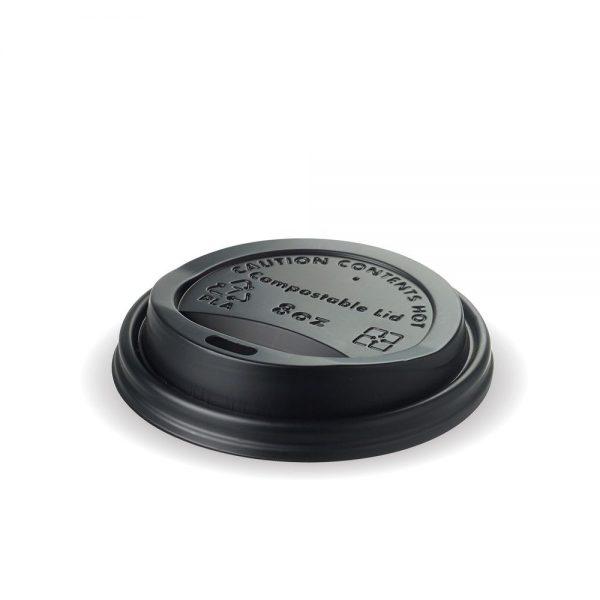8oz Black Compostable PLA Cup Lid