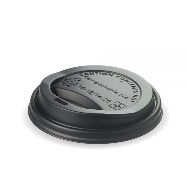 12oz & 16oz Black Compostable PLA Cup Lid