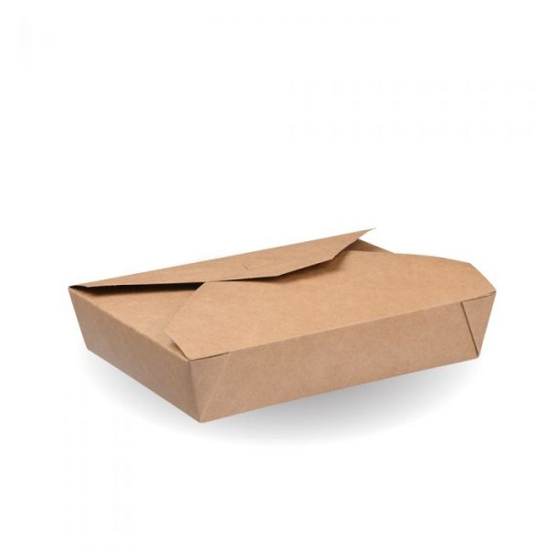 No2 Compostable Kraft Hot Food Box 215x195mm Biodegradable