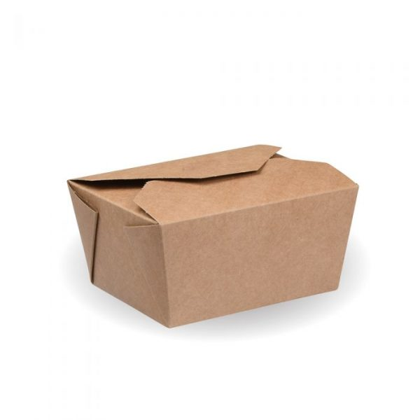 No1 Compostable Kraft Hot Food Box 125x118mm Biodegradable
