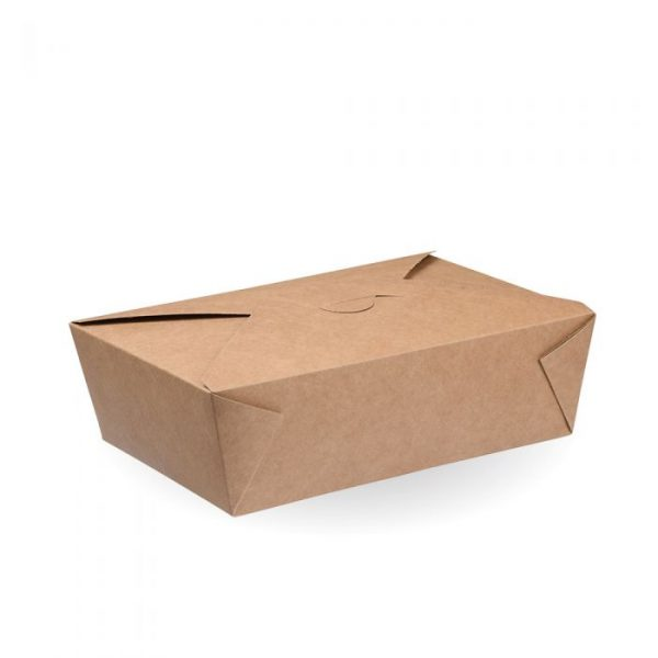 No3 Compostable Kraft Hot Food Box 215x150mm Biodegradable