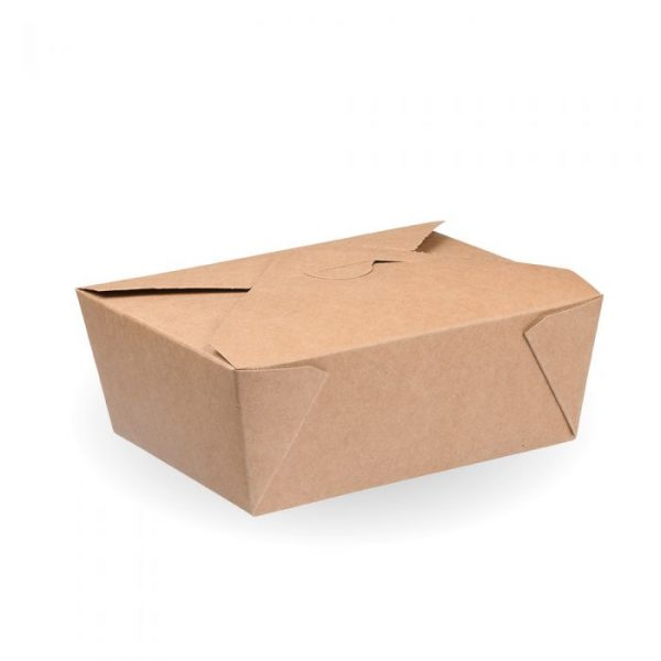 No4 Compostable Kraft Hot Food Box 220x160mm Biodegradable