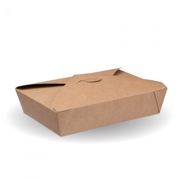 No10 Compostable Kraft Hot Food Box 140x105mm Biodegradable