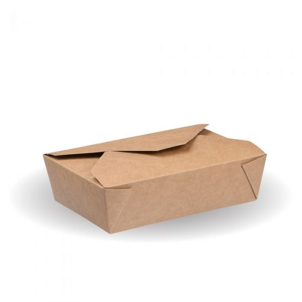 No2c Compostable Kraft Hot Food Box 145x145mm Biodegradable