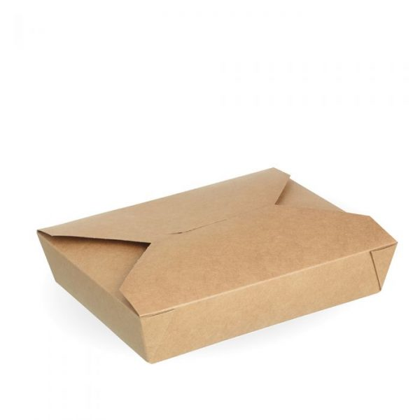 No2b Compostable Kraft Hot Food Box 194x154mm Biodegradable