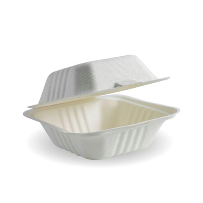 "Compostable Sugarcane White Burger Box 6x6"" Biodegradable"