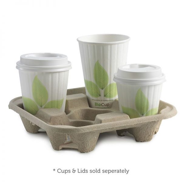4 Cup Compostable Bio Cup Holder / Tray