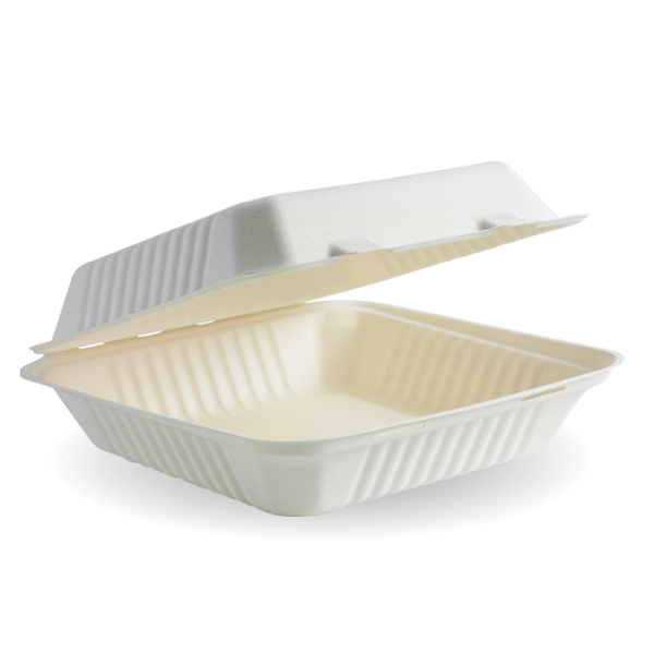 "Compostable Sugarcane Box 9x9x3"" Biodegradable"