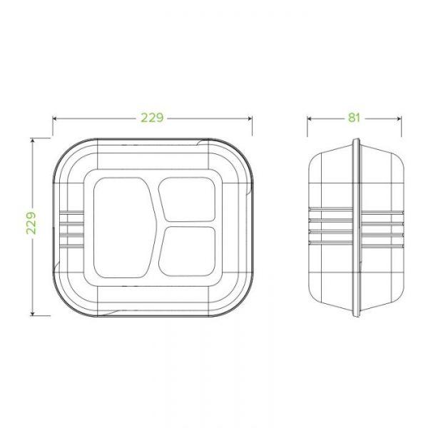 "Compostable Sugarcane Compartment Box 9x9x3"" Biodegradable"