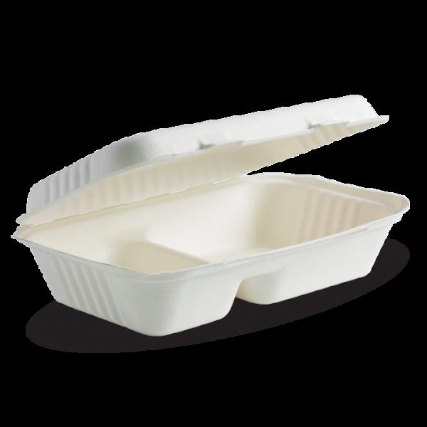 "Compostable Sugarcane Compartment Box 9x6x3"" Biodegradable"