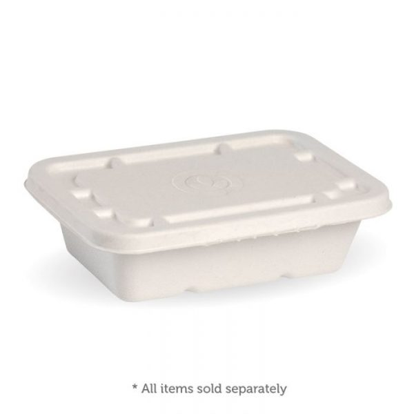 Compostable White 600ml Takeaway Container Base Biodegradable
