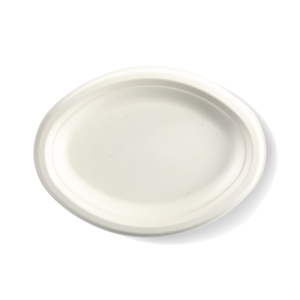 Compostable Oval Plate 26x19cm Biodegradable