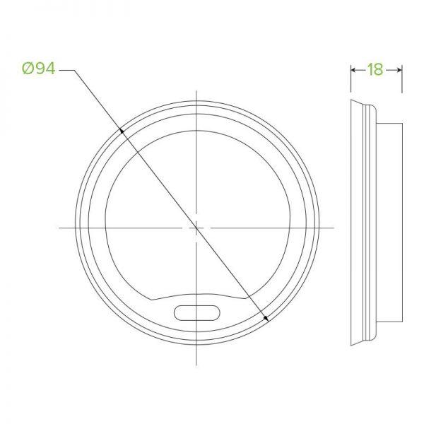 12oz / 16oz & 20oz White Compostable PLA Cup Lid