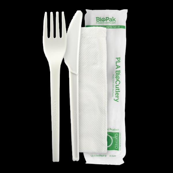 White Bio Plastic PLA Cutlery Set Knife, Fork & Napkin
