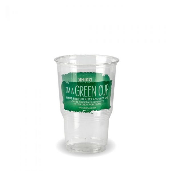 Compostable Clear Disposable Half Pint Cup CE Marked Green Cup- Pack 70
