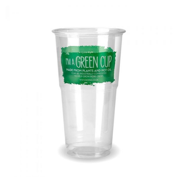 Compostable Clear Disposable Pint Cup CE Marked Green Cup - Pack 60