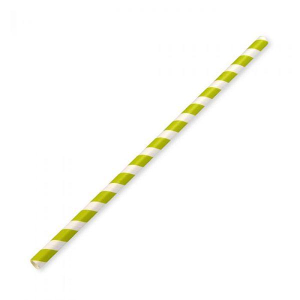Medium Compostable Paper Straw 20cm x 8mm Green Stripe Biodegradable