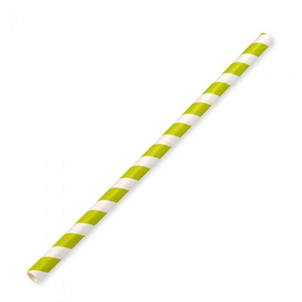 Large Compostable Paper Straw 23cm x 8mm Green Stripe Biodegradable