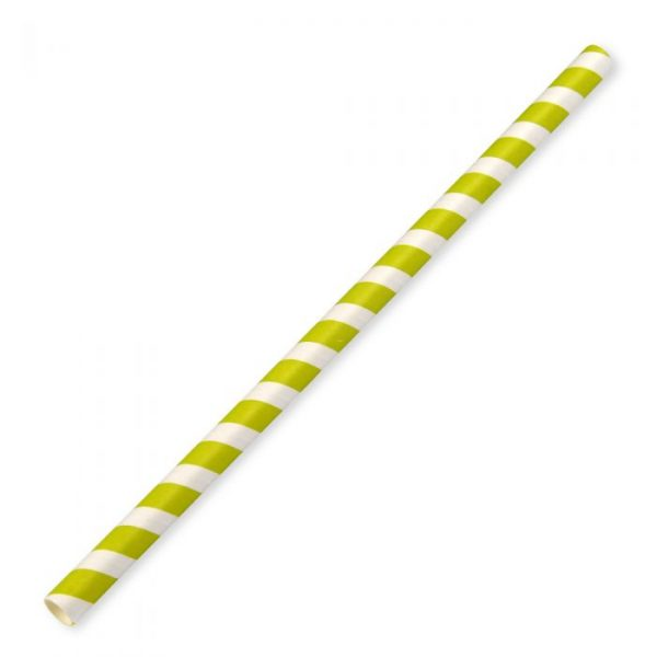 Jumbo Compostable Paper Straw 23cm x 10mm Green Stripe Biodegradable