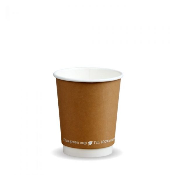 8oz Double Wall Compostable Kraft Bio Cup Insulated