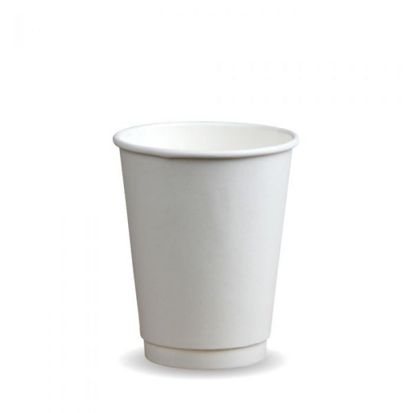 12oz Double Wall Compostable White Bio Cup Insulated