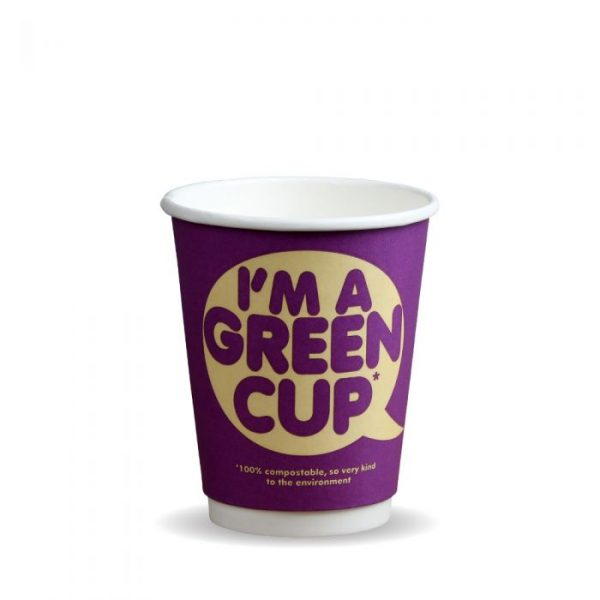 "8oz Double Wall Compostable ""I'm A Green Cup"" Bio Cup Insulated"