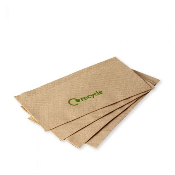 Kraft 1 Ply Napkin 32x32cm Recycle Print