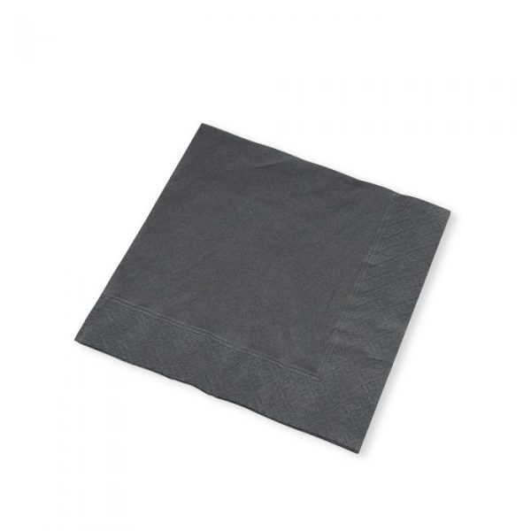 Black 2 Ply Cocktail Napkin 25x25cm Biodegradable