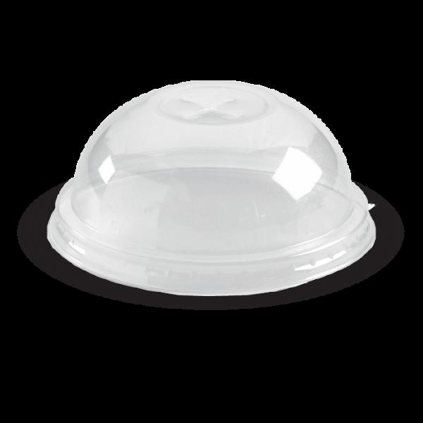 Compostable PLA C-76D Clear Dome Lid Cross Open