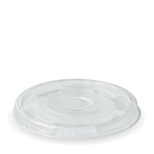 Compostable Clear Flat Lid With Half Moon Open