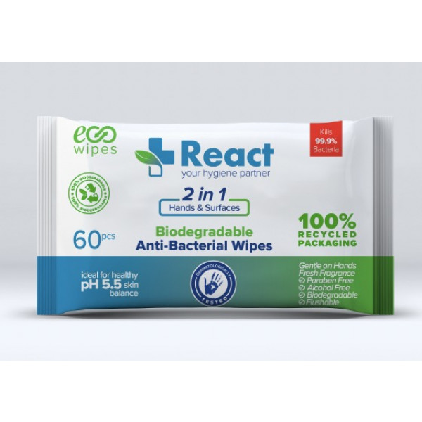 15 Packs of React Biodegradable Antibacterial Wipes