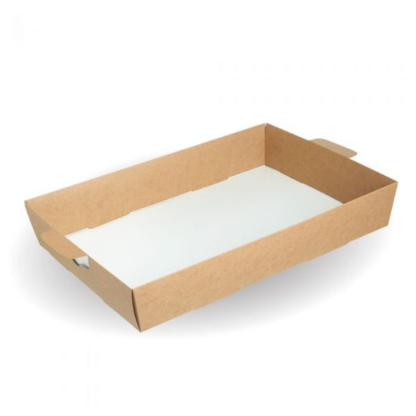 Compostable Large Kraft Platter Box Tray Insert - 482 x 330 x 83mm - Pack 25