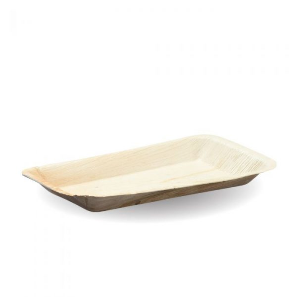 Compostable 24 x 16cm Rectangle Palm Leaf Plate