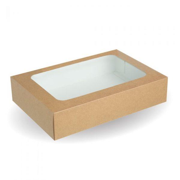 Compostable Medium Kraft Food Platter Box with Window - 385 x 260 x 85mm - Pack 25