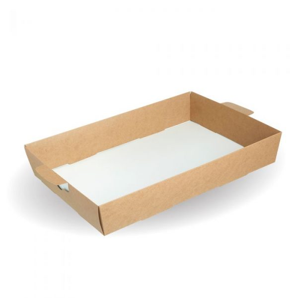 Compostable Small Kraft Platter Box Tray Insert Only - 308 x 220 x 79mm - Pack 25