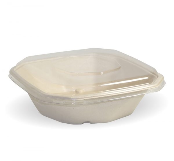 Compostable Natural BioCane 750ml Octa Takeaway Container and Lid Biodegradable