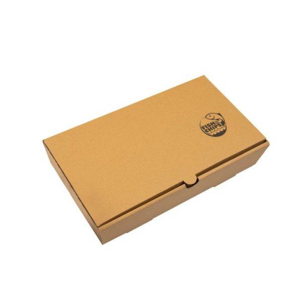 "10"" Compostable Kraft Cardboard Fish & Chips Box 370 x 140 x 510mm Biodegradable"