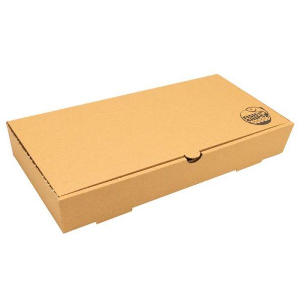 "12"" Compostable Kraft Cardboard Fish & Chips Box 410 x 147 x 520mm Biodegradable"