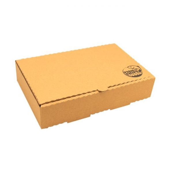 "9"" Compostable Kraft Cardboard Fish & Chips Box 250x160x55mm Biodegradable"