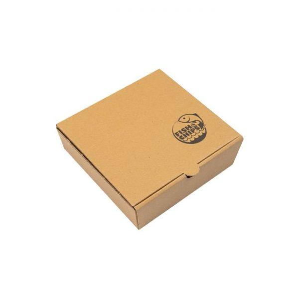 "5"" Compostable Kraft Cardboard Fish & Chips Box 150 x 160 x 50mm Biodegradable"