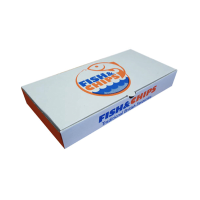 """10"""" Compostable White Printed Cardboard Fish And Chips Box 290x150x50mm Biodegradable - Pack 100"""