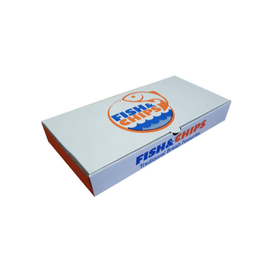"""9"""" Compostable White Printed Cardboard Fish And Chips Box 250x160x50mm Biodegradable - Pack 100"""
