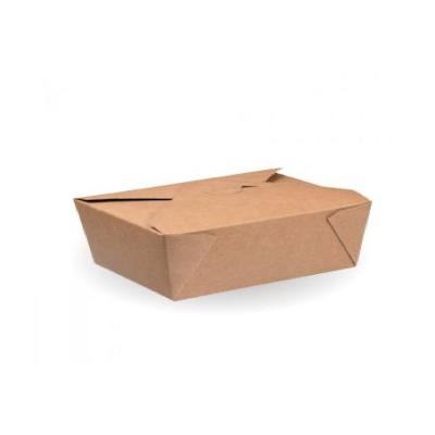 No5 Compostable Kraft Hot Food Box 166x135mm Biodegradable - Pack 150