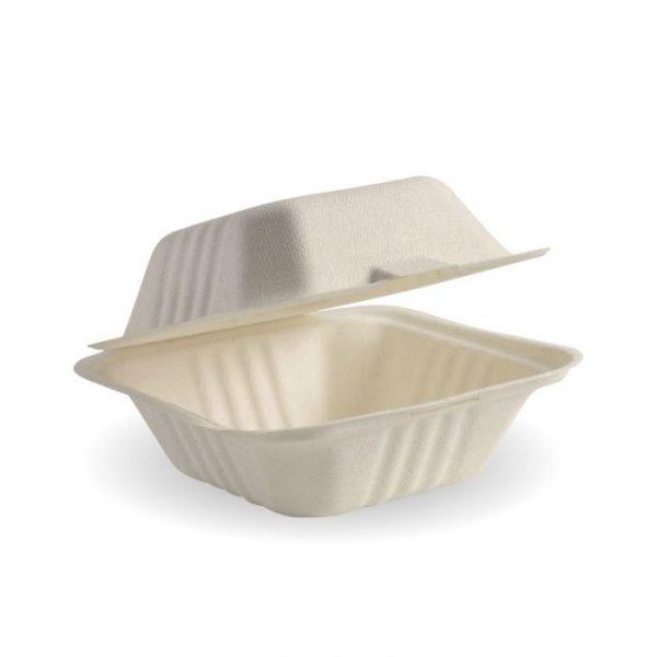 "Compostable Sugarcane Natural Burger Box 6x6"" Biodegradable"