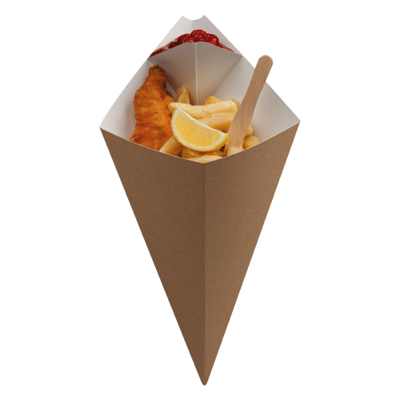 Large Kraft Fish & Chips Cone with Dip Corner 212 x 354mm - Pack 500