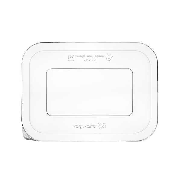 Vegware Lid Clear PLA for Sugarcane Gourmet Base Tray Size 250 x 180mm - Pack 600